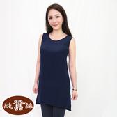 【岱妮蠶絲】公主線典雅蠶絲背心洋裝(深藍)