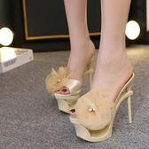 性感魚嘴鞋夏季水鉆花朵涼拖鞋