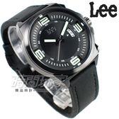 Lee 大數字造型 潮流腕錶 皮帶 日期顯示窗 男錶 黑色 LES-M67DBL1-13