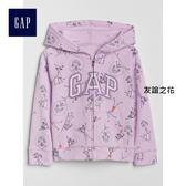 Gap女嬰幼童 Logo系列舒適純棉毛圈布印花連帽休閒外套 259362-友誼之花