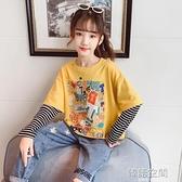 女童長袖T恤2020秋裝新款中大童韓版童裝洋氣寬鬆打底衫兒童上衣
