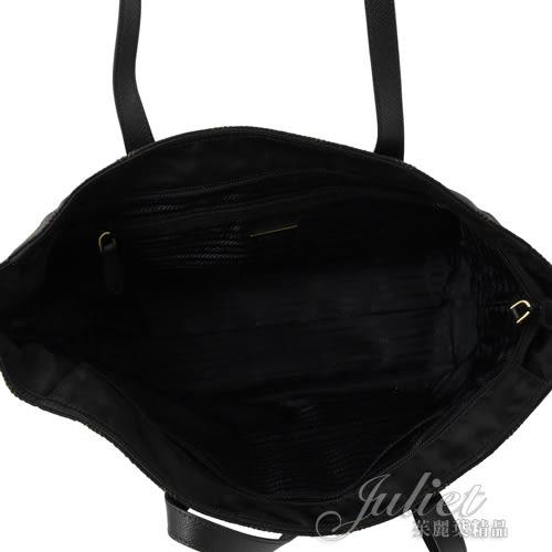 茱麗葉精品【全新現貨】PRADA 1BG085 三角LOGO撞色菱格紋尼龍帆布肩背包.黑