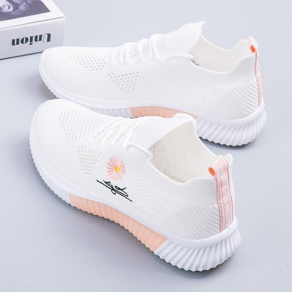 運動鞋女2021夏季新款百搭小雛菊女鞋薄款休閒網鞋網面透氣小白鞋 青木鋪子