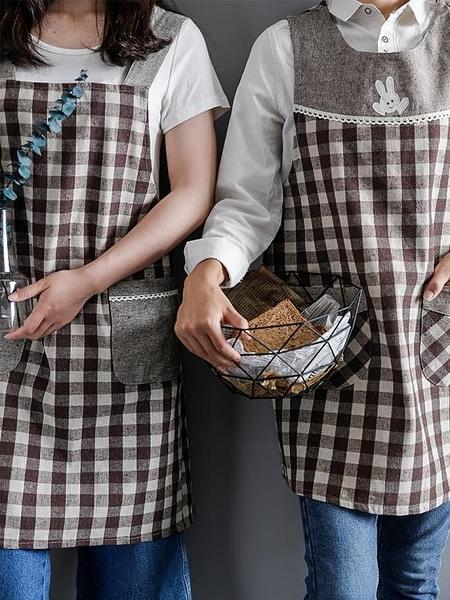 日式加厚棉麻布藝格子圍裙 居家廚房清潔可愛韓版罩衣店服工作服 安妮塔小铺