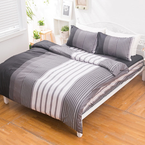 【eyah】台灣製205織紗精梳棉雙人被套-穿條紋睡衣的夜晚
