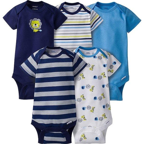 包屁衣 Gerber Childrenswear 短袖包屁衣 / 哈衣 超值5件組 - 藍綠條紋動物 5215-0931