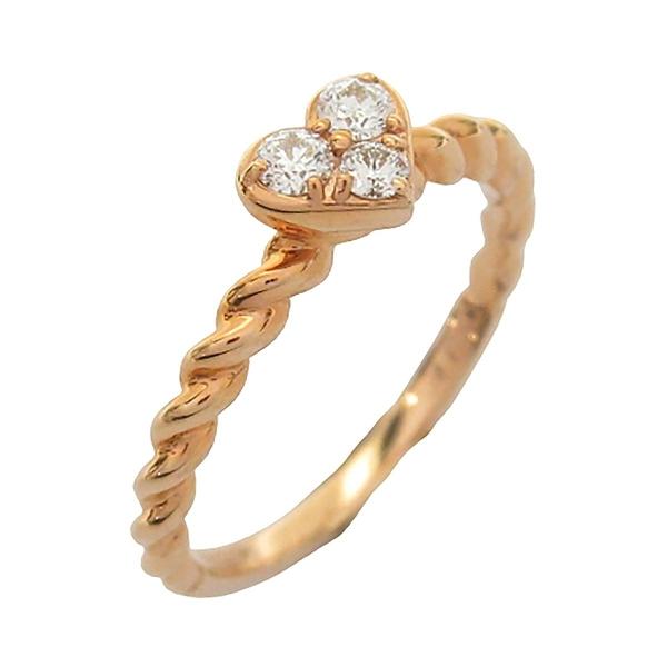 Hearts On Fire HOF 18K玫瑰金愛心鑲3顆鑽戒指 Ring 【BRAND OFF】