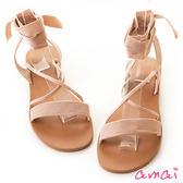 amai辛甜女孩羅馬綁帶平底涼鞋 粉