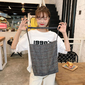 帆布袋 格紋 毛呢 斜背包 手提袋 單肩包 環保購物袋 手提/單肩【SP99303】 ENTER  11/07