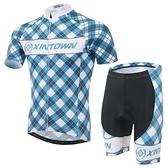 自行車衣-(短袖套裝)-藍格時尚吸濕排汗男單車服套裝73er49[時尚巴黎]