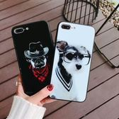 【SZ25】iPhone6s手機殼 紳士狗狗玻璃殼 iPhone7/8plus手機殼 iPhoneX手機殼