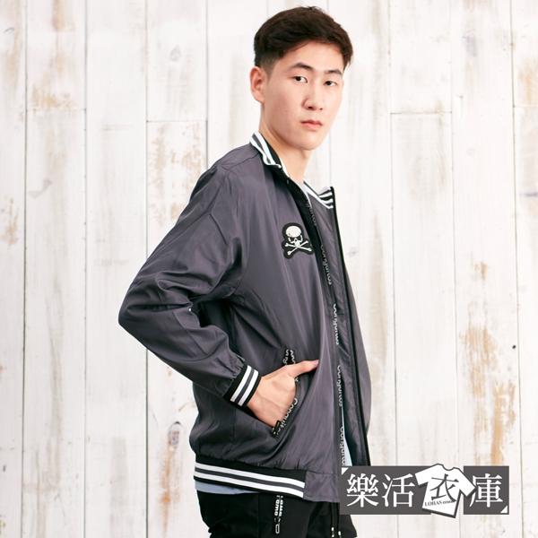【C338】街頭龐克徽章防風飛行夾克外套(深灰)●樂活衣庫