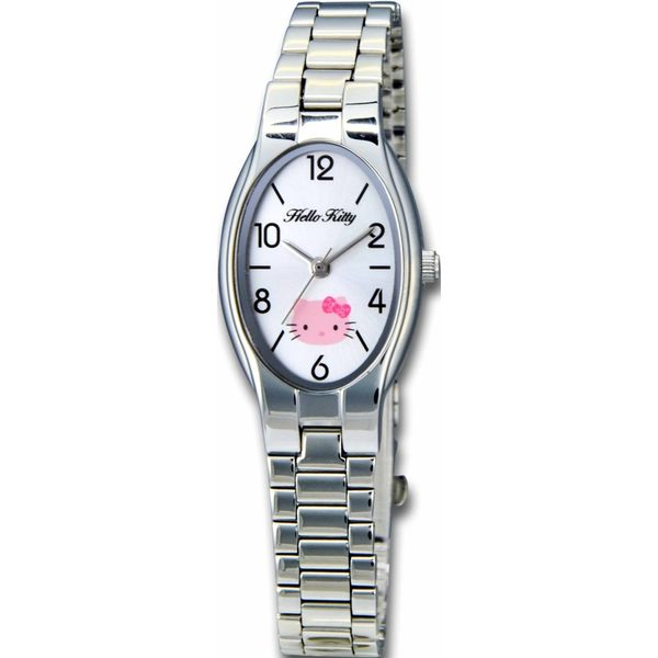 【HELLO KITTY】凱蒂貓橢圓氣質簡約時尚錶款 (銀/白面 LK632LWWA)