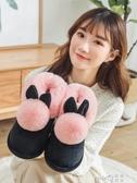 棉拖鞋女包跟居家月子鞋室內厚底防滑保暖毛毛拖鞋女家用秋冬棉鞋  (pink Q 時尚女裝)