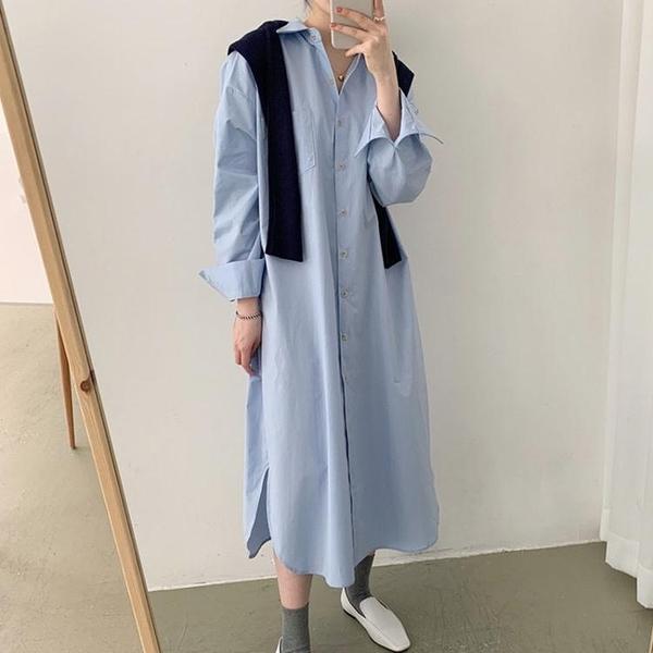 襯衫洋裝 韓國chic小眾奶軟藍翻領單排扣洋裝 寬鬆百搭中長款襯衫式連身裙女 萬聖節狂歡價