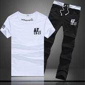 男式短袖t恤衫運動套裝夏季夏裝韓版潮流休閒衣服男裝可定制 免運快速出貨