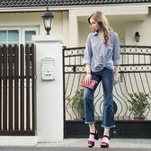 秋冬單一價[H2O]中高腰超彈性顯瘦九分小喇叭牛仔褲 - 藍色 #8658009