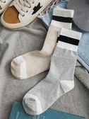 條紋高幫長襪子女中筒襪韓版學院風日繫春秋百搭薄款堆堆襪韓國潮 降價兩天