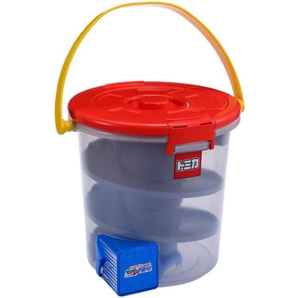 小禮堂 Tomica多美小汽車 汽車滑行收納桶 (紅蓋) 4904810-45781