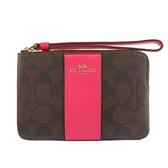 【COACH】皮革+PVC LOGO L型拉鍊手拿包(紅/棕) F58035 IMO6E