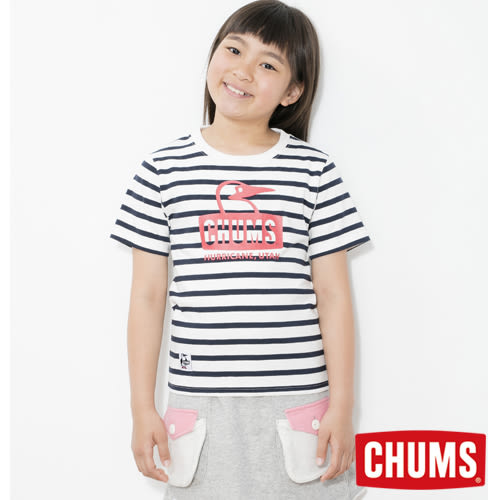 CHUMS 日本 童 Booby條紋短袖T恤 白/海軍藍 CH211035W011