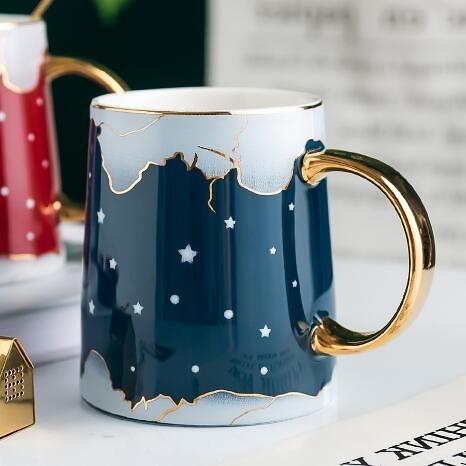 北歐ins風陶瓷杯子創意可愛少女個性潮流水杯帶蓋咖啡杯馬克杯 時尚芭莎