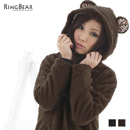 外套--冬天最可愛款式豹紋內裡連帽毛毛小熊外套(黑.咖M-2L)-J41眼圈熊中大尺碼