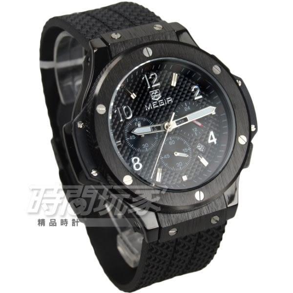 MEGIR 粗曠感螺絲真三眼時尚男錶 防水手錶 日期顯示 學生錶 橡膠錶帶 IP黑電鍍x黑 ME3002槍黑