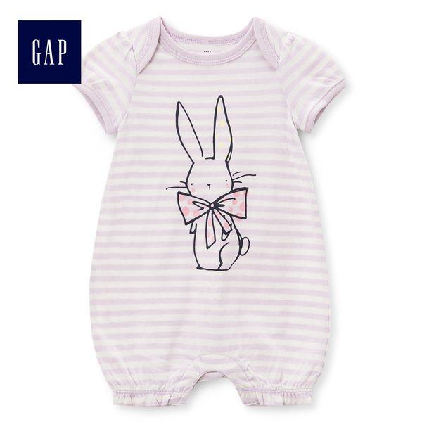 Gap女嬰兒 兔子印花條紋一件式包屁衣 442684-象牙白