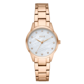 ELLE  Molitor優雅時尚晶鑽貝殼面腕錶-玫瑰金X白