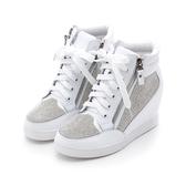 MICHELLE PARK 自信格調 / 水鑽雙拉練內增高休閒鞋-白