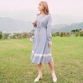 Poly Lulu V領腰抽繩蕾絲裙襬長洋裝-灰藍【92310100】