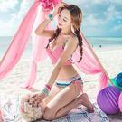 泳衣比基尼夏日甜美【性感亮眼+鋼圈】粉色  夏日風情綁帶 泳衣泳裝溫泉比基尼 【39a】