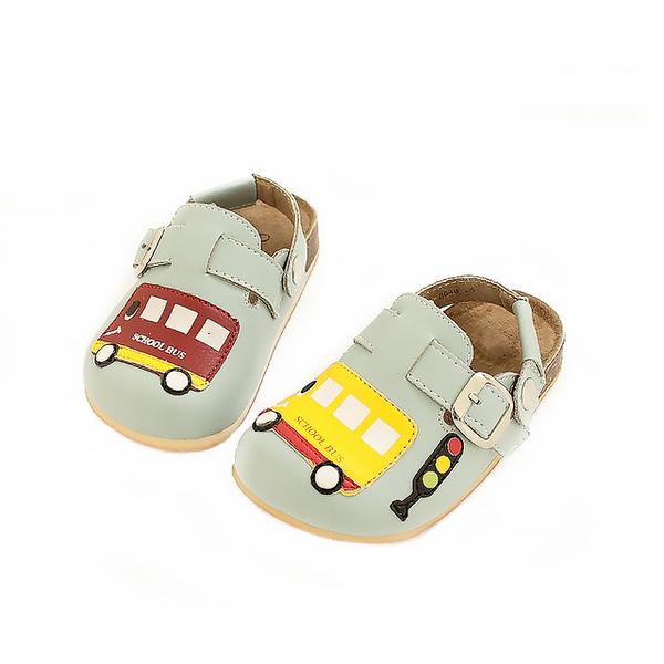 【Jingle】快樂上學前包後空軟木休閒鞋(天空藍兒童款)