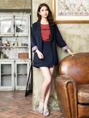 秋冬單一特價[H2O]多種穿法可反折袖綁帶復古西裝外套 - 藍底白條/黑格/粉色 #9663002
