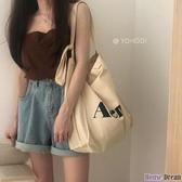 帆布包 ins韓風簡約百搭款 純色單肩帆布包斜挎布袋學生書包女