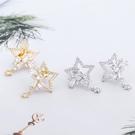 【NiNi Me】夾式耳環 氣質優雅閃亮星星水鑽鋯石夾式耳環 夾式耳環 E0112