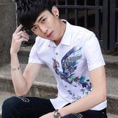 青少年夏季新款韓版男士短袖襯衫男修身百搭印花個性襯衣潮男寸衫「摩登大道」