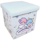 【震撼精品百貨】雙子星小天使_Little Twin Stars KiKi&LaLa~三麗鷗皮質折疊收納箱 (藍直紋款)#19336
