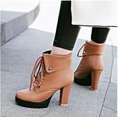 白色百搭英倫風系帶馬丁靴2019冬季加絨粗跟高跟短靴女春秋單靴子 XN7327【極致男人】