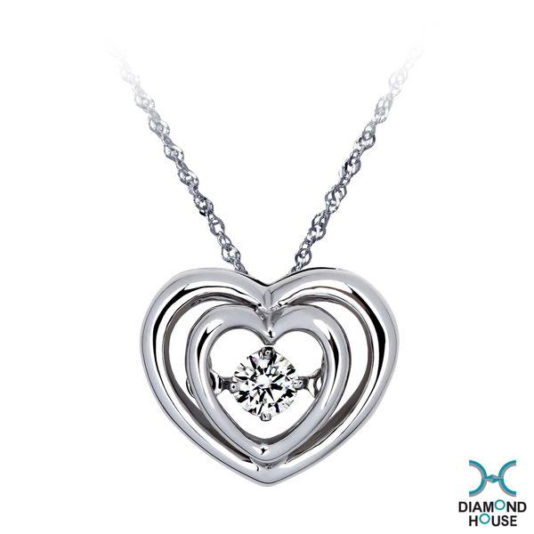 ﹝鑽石屋﹞10分鑽石套鍊 雙愛心舞動鑽石項鍊 DB026728