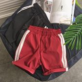 新款百搭男士休閒短褲韓版條紋情侶沙灘褲子寬鬆五分褲潮