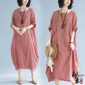 長裙子文藝大尺碼條紋寬鬆顯瘦經典短袖連身裙潮【尾牙交換禮物】