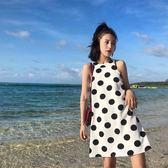 洋裝 沙灘裙女春夏2018新款海邊渡假無袖掛脖波點a字型雪紡連身裙短裙【滿一元免運】