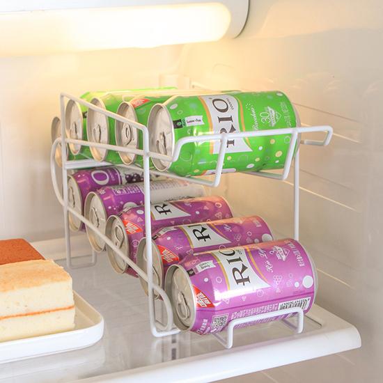 雙層易開罐整理架 冰箱 收納架 滾動 廚房 置物架 啤酒 置物 手拉式 鐵藝 米菈生活館【Z006-1】