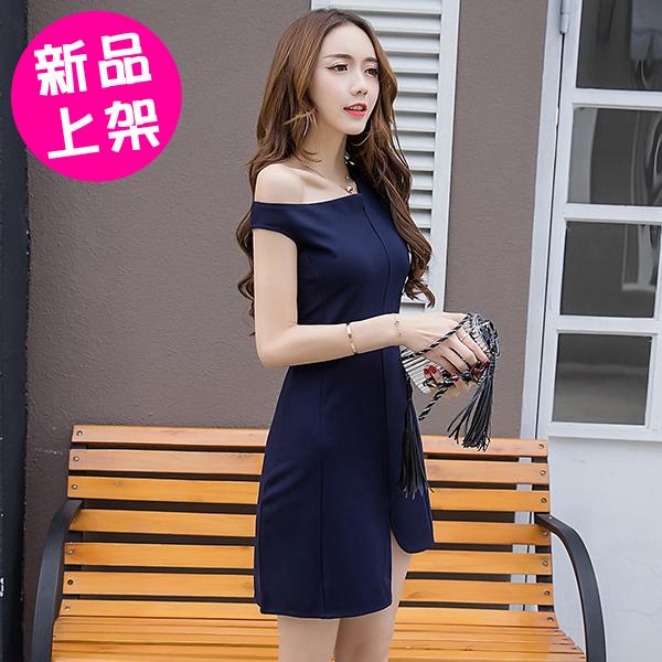 【SP851-0621】氣質修身甜美時尚不規則裙襬露肩禮服 連身裙 洋裝