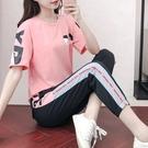 2021年夏季新款休閑跑步服韓版印花短袖長褲套裝時尚寬松兩件套女