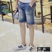 『潮段班』【ML0YB509】新款 個性刷白抓破刷破造型五分牛仔短褲 牛仔褲牛仔短褲五分褲