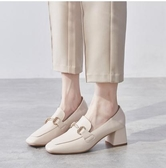 樂福鞋網紅高跟鞋女鞋2020新款秋鞋百搭粗跟單鞋中跟樂福鞋英倫風小皮鞋 萊俐亞