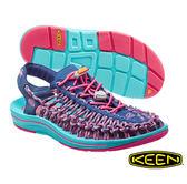 Keen UNEEK 8MM ROCK 女 編織款拉繩涼鞋 深藍/粉紅 1014720
